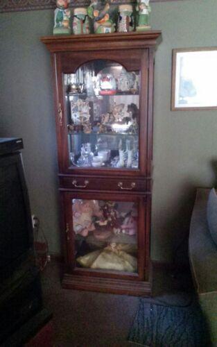 Vintage Dark Walnut Curio Antique Brown Wooden Framed Glass Door Display Cabinet
