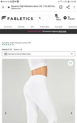 Fabletics High-Waisted Printed PowerHold 7/8 Leggings Sz XL  lattice white  NWT