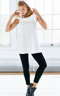 Funnel Hood Tank Top Urban Outfitters by Truly Madly Deeply X Small Ivory $69