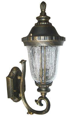 Outdoor Light Fixture Wall Sconce Black Gold WU  Lantern Cast Aluminum (Black Small Outdoor Wall Lantern)