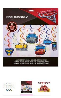 - Cars Swirl Decorations 12 pieces Value Pack new