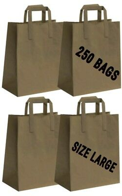 250 BROWN PAPER CARRIER BAGS WITH HANDLES LARGE 23 X 25 X 14 CM PARTY TAKEAWAY