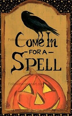 Come In For A Spell Halloween Black Crow Stars Pumpkin Wall Art Print ()