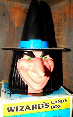 Vtg Halloween Wizard Candy Box Witch Animated Eyes and Laugh W/Box Rare!