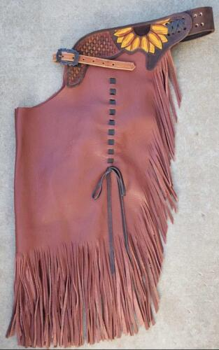 Western Top Grain Leather Chink with Matching Fringes with Sunflower Tooling