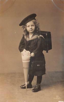 (RPPC JEWISH GIRL IN SAILOR DRESS JUDAICA REAL PHOTO POSTCARD (c. 1910))
