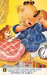 GIRL & DOG ALARM CLOCK TAYLOR TOT SIGNED ENGLAND BAMFORTH POSTCARD 1962