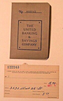 1923 United Banking & Savings Co. Cleveland Ohio Bank Passbook & Bank Card