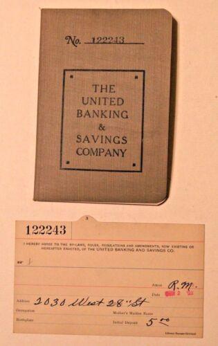 1923 Bank Book & Bank Card United Banking & Savings Co. Cleveland Ohio Vintage