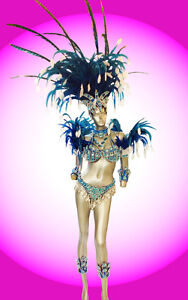 Blue Feather Brazilian Rio Carnival samba-style costume set Headdress Bra Bikini