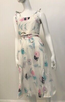 80s Dresses | Casual to Party Dresses Vintage 1980's Linen Tie Shoulder Sun Dress $15.61 AT vintagedancer.com