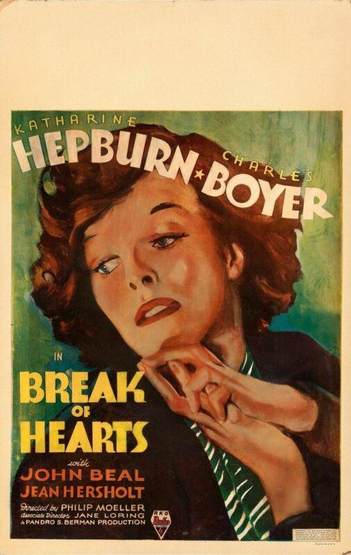 BREAK OF HEARTS (1935) 29434  Movie Poster  Original Window Card  Katherine Hepb