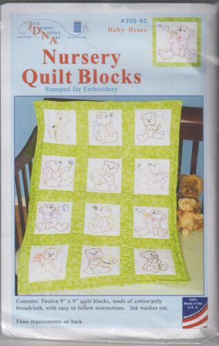 1 Jack Dempsey Baby Bears Stamped Embroidery Quilt Blocks