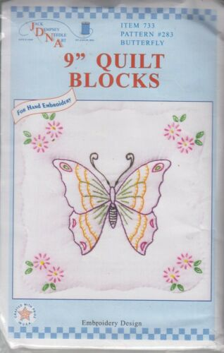 1 Jack Dempsey Butterfly Stamped Embroidery Quilt Blocks