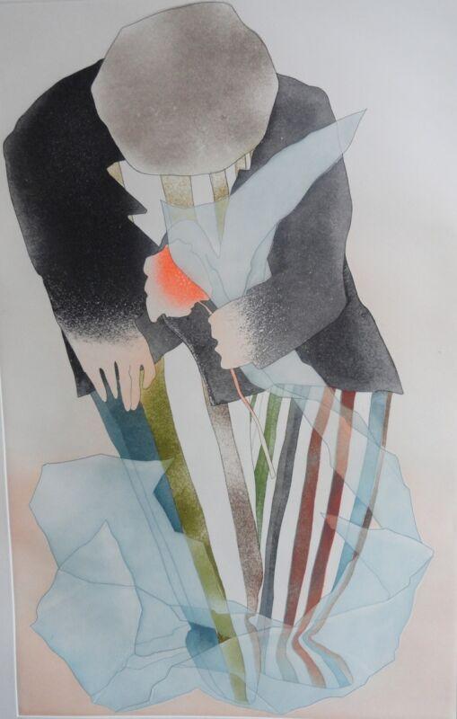 """Charlotte Reine """" Pour Offrir """" Original Etching Art"""