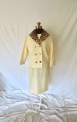 60s Cream Wool Dress Suit Leopard Collar Jacket Tailored Jackie O Mid Century