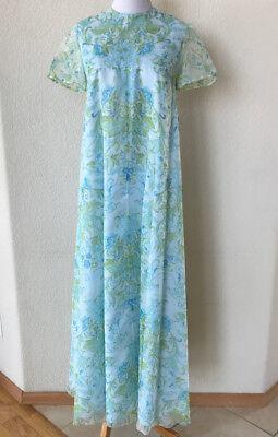 70s Sheer - Vintage 70s Sheer CHIFFON Blue Floral MAXI DRESS Bridesmaid Empire 33
