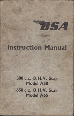 BSA 500cc OHV A50 STAR & 650cc OHV A65 STAR ORIG. 1961 OWNERS INSTRUCTION MANUAL
