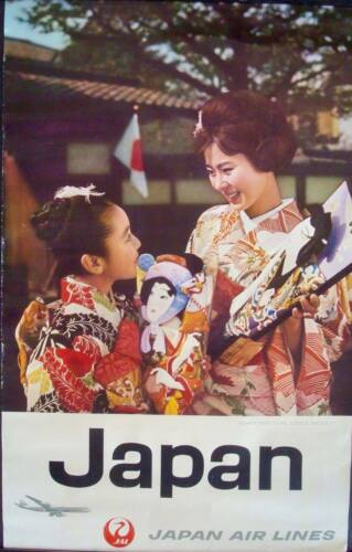 JAPAN AIRLINES HAPPY NEW YEAR LITTLE SISTER Vintage 1962 Travel poster 25x39