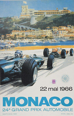 - VINTAGE 1966 MONACO GRAND PRIX AUTO RACING POSTER PRINT 36x23 9MIL PAPER