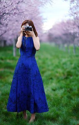 Alice Olivia Sleeveless Jacquard Lace Inset In Back Dress Tea Length Blue Black
