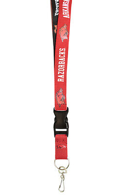 Arkansas Razorbacks Two Tone Lanyard Key Ring [NEW] NCAA Chain ID Badge Holder