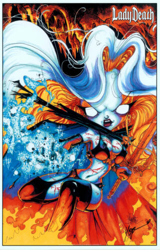 Lady Death Signed CHAOS! Comics Art print