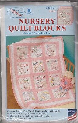 "1 Jack Dempsey ""Girls"" Stamped Embroidery Nursery Quilt Blocks"