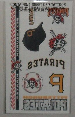MLB 1 SHEET 7 TEMPORARY TATTOOS PITTSBURGH PIRATES FREE SHIPPING](Pittsburgh Pirates Tattoos)