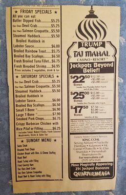 Vintage 1990 Trump Taj Mahal Casino Resort Bus Trip Package Newspaper Ad