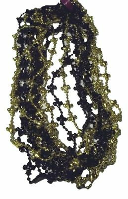 12 Fleur de Lis Black and Gold Mardi Gras Bead Necklaces Saints New Orleans Tail](Black And Gold Mardi Gras Beads)