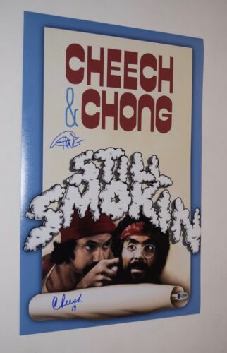 Cheech Marin & Tommy Chong Signed STILL SMOKIN 12x18 Poster Photo BAS COA