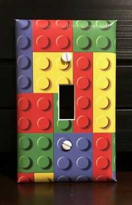 Lego Puzzle Pieces Light Switch Cover Plates Red Green Blue Yellow Kids