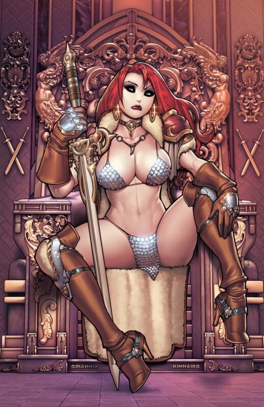 🚨🔥 RED SONJA #28 RYAN KINNAIRD 616 Virgin Throne Variant LTD 500 COA NM- Copy