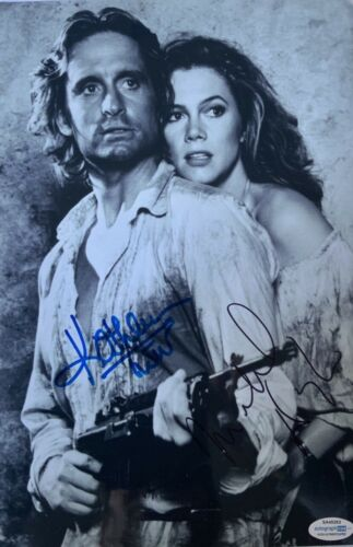 Michael Douglas & Kathleen Turner signed 12x8 photo UACC RACC AFTAL dealer ACOA