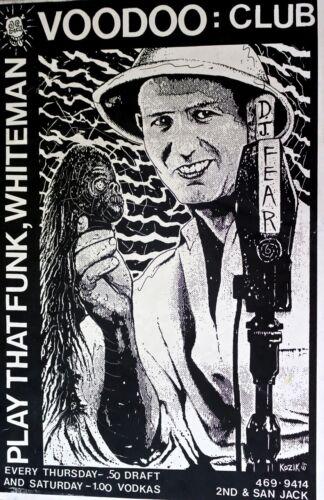 FUNKY WHITEMAN VOODOO CLUB - POSTER EARLY KOZIK 1989 PUNK - Austin   SCARCE