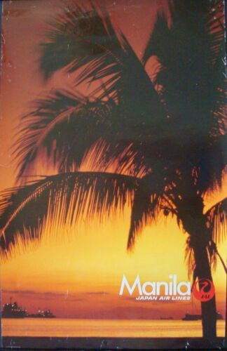 JAPAN AIRLINES MANILA PHILIPPINES 1984 Vintage Travel poster 25x39 SUNSET