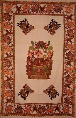 """Tribesman Tapestry Cotton Wall Hanging 90"""" x 60""""  Tan"""