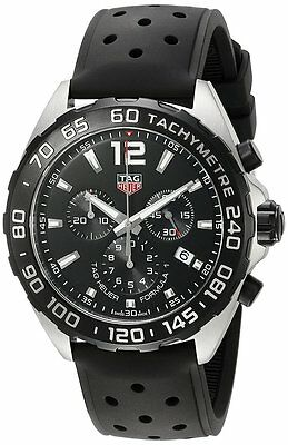 Tag Heuer Formula 1 Chrono Perforated Black Rubber Band Men Watch CAZ1010.FT8024