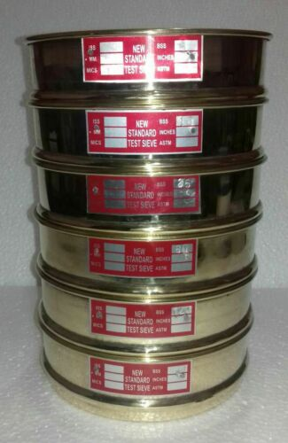 Brass Sieves Heavy Gauge Standard Testing Set of 6 With Lid & Pan 8.4x2.2 inches
