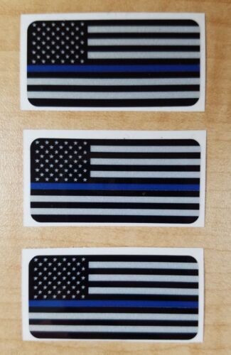 "Set of 3 Blue Line Flag Reflective Decal Sticker License Plate Police 1"" X 2"""