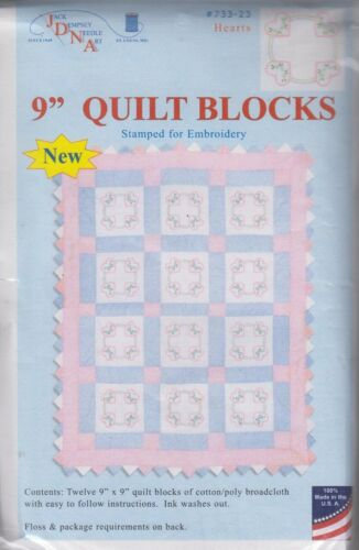 1 Jack Dempsey Hearts Stamped Embroidery Quilt Blocks