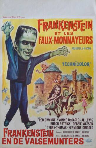 MUNSTER GO HOME Belgian movie poster 1966 FRED GWYNNE RARE NM