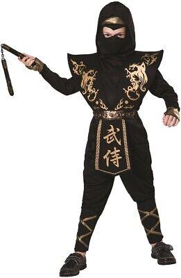 Jungen Schwarz Gold Ninja Krieger Halloween Kostüm Kleid Outfit 4-12 - Goldene Krieger Kostüm