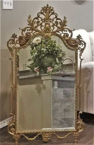 RARE VINTAGE LOUIS XV BEVELED WALL MIRROR w ORNATE GILT BRASS FRAME URNS FLOWERS