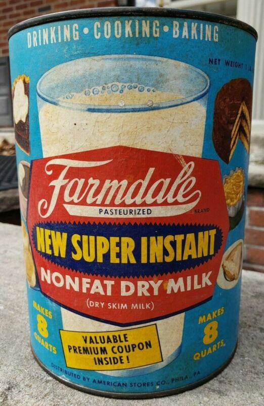 RARE Farmdale Graphic Cardboard Tin Super Instant Dry Milk Dairy Advertising 50s