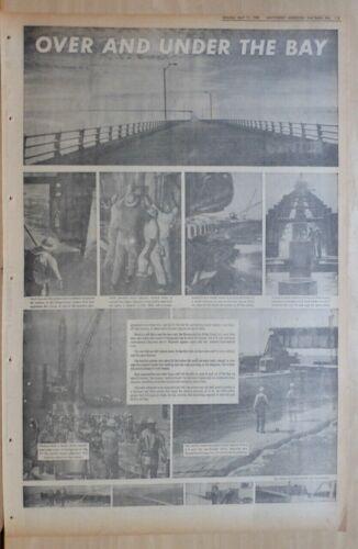 Full page 1964 newspaper feature - Chesapeake Bay Bridge Tunnel construction