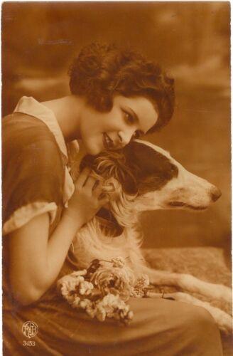 RARE Vintage Borzoi Dog & Lady Imported Sepia Postcard Belgium c1923