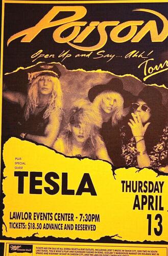TESLA AND POISON POSTER 1989 RENO, NV ORIGINAL SCARCE