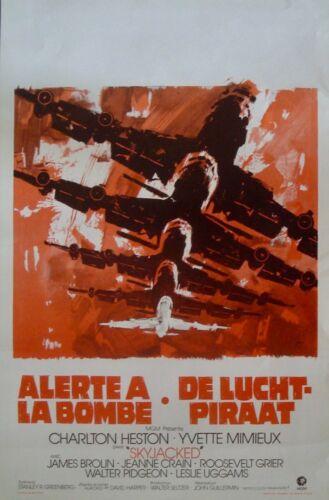 SKYJACKED Belgian movie poster CHARLTON HESTON 1972 RAY ELSEVIERS Art NM